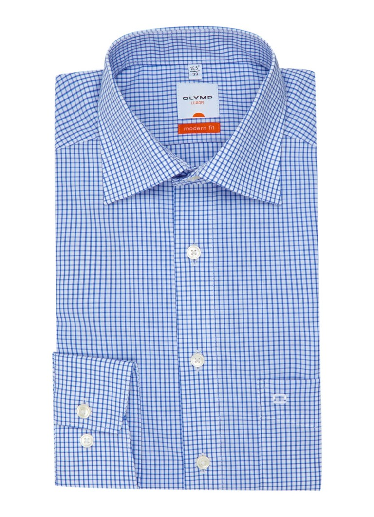 Olymp Strijkvrij modern fit overhemd in ruitmotief