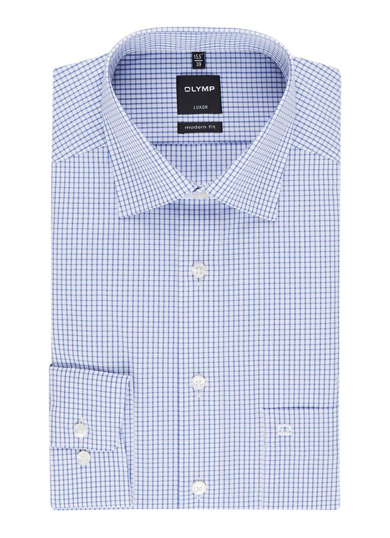 Olymp Modern fit strijkvrij overhemd in ruitmotief