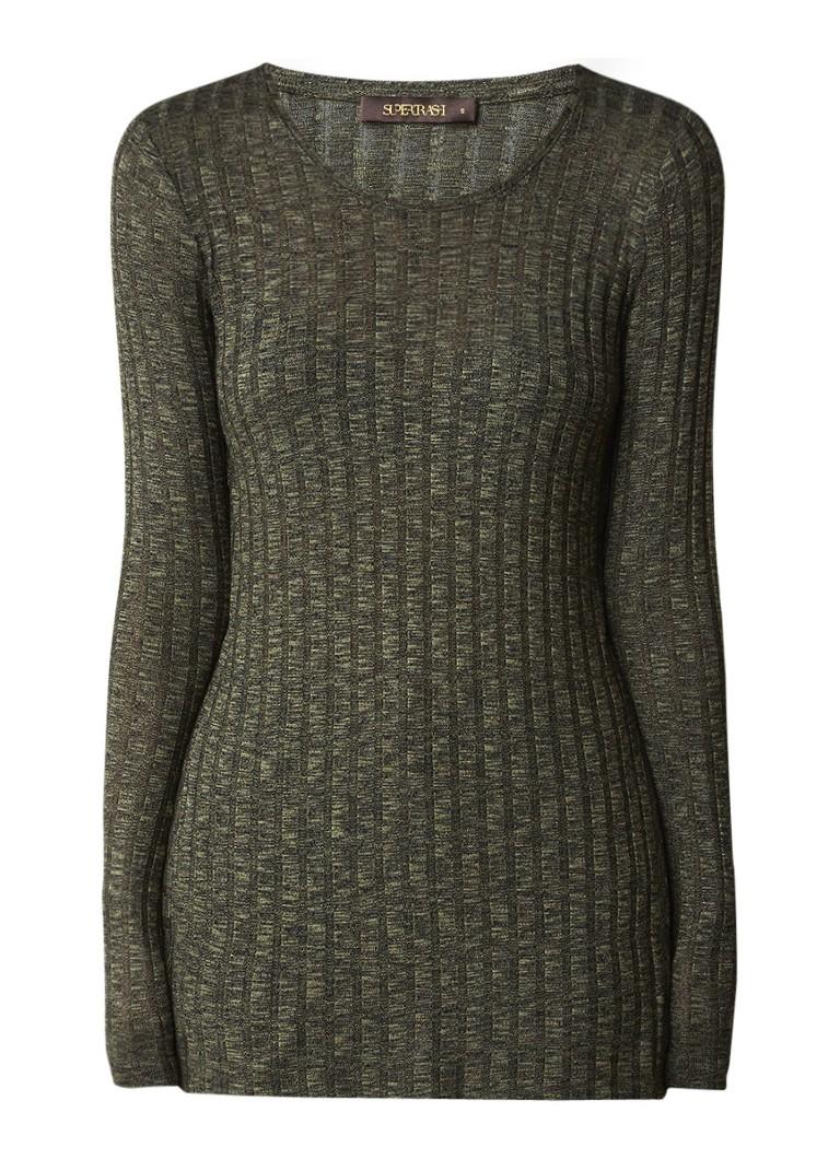 SuperTrash Ribgebreide pullover met studs en split aan weerszijden