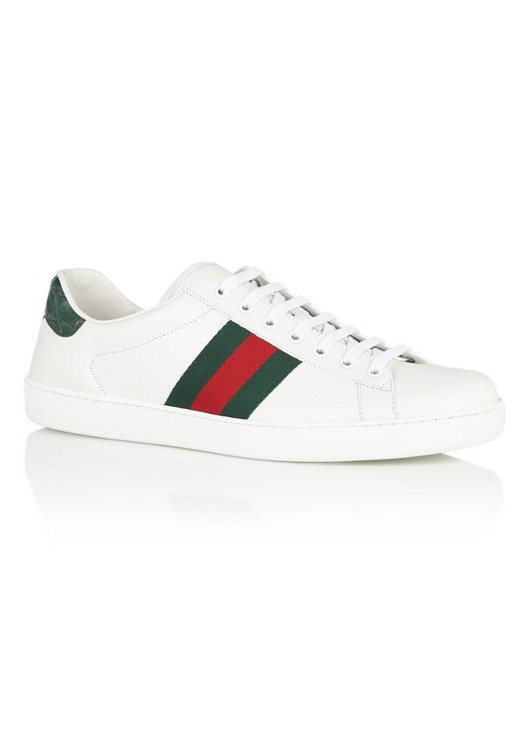 Gucci Ace sneaker van leer met Web detail