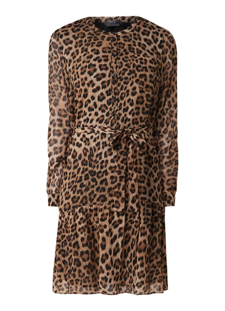 SET Tuniekjurk met luipaarddessin en strikceintuur bruin