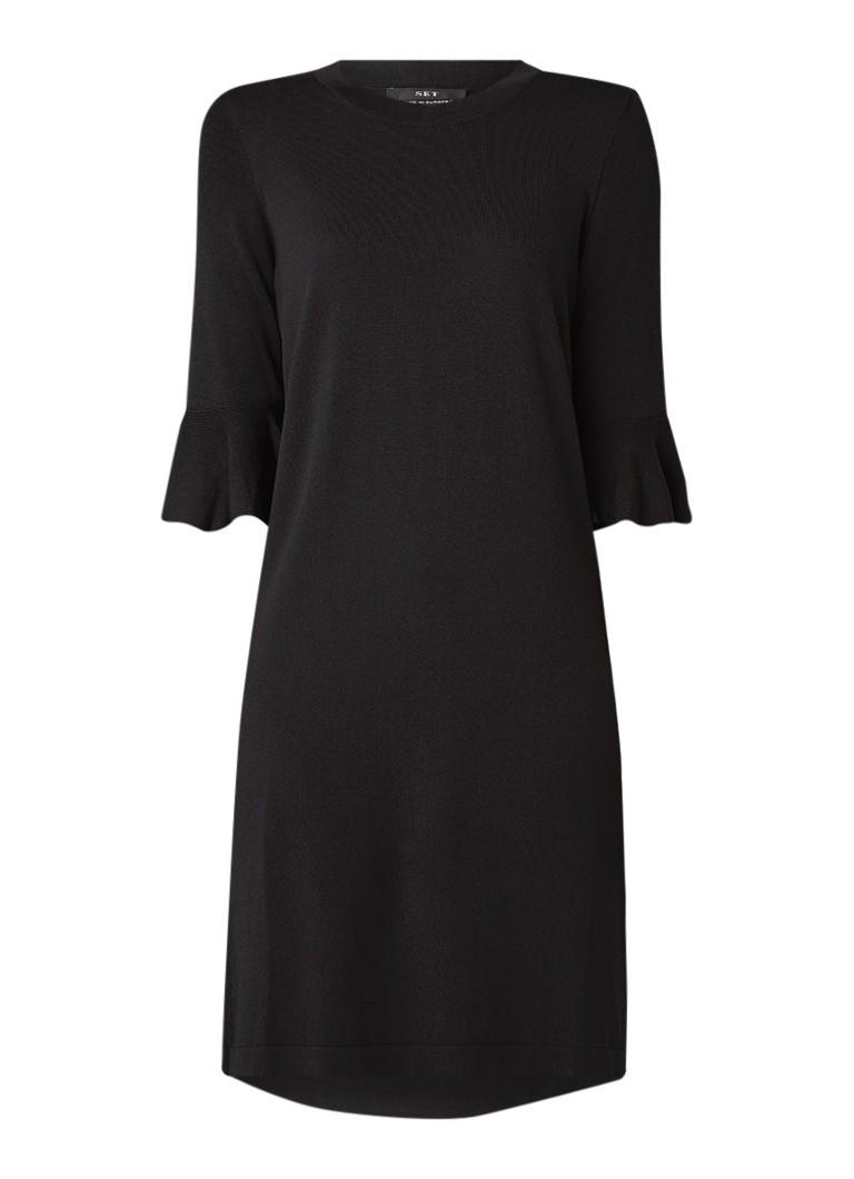 SET Fijngebreide mini-jurk met trompetmouw zwart