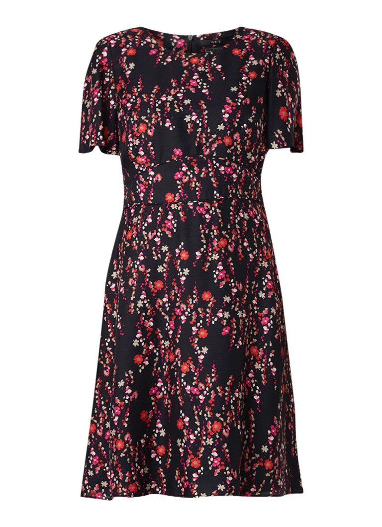 SET A-lijn jurk met bloemendessin zwart