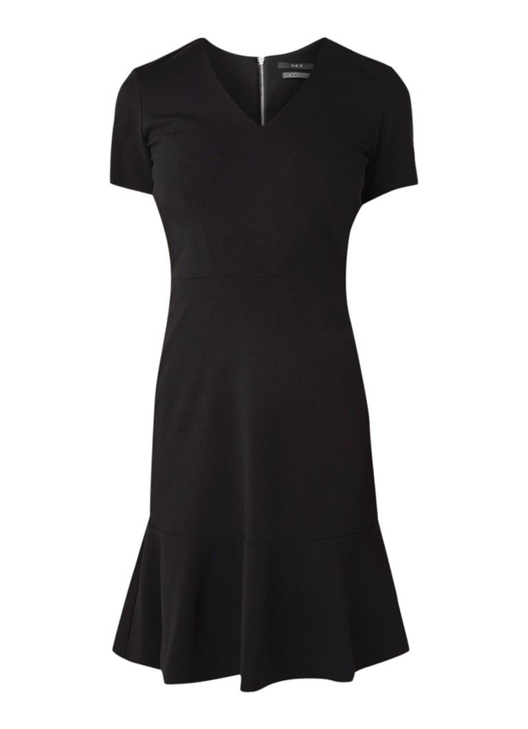 SET Midi-jurk van jersey met peplum zwart