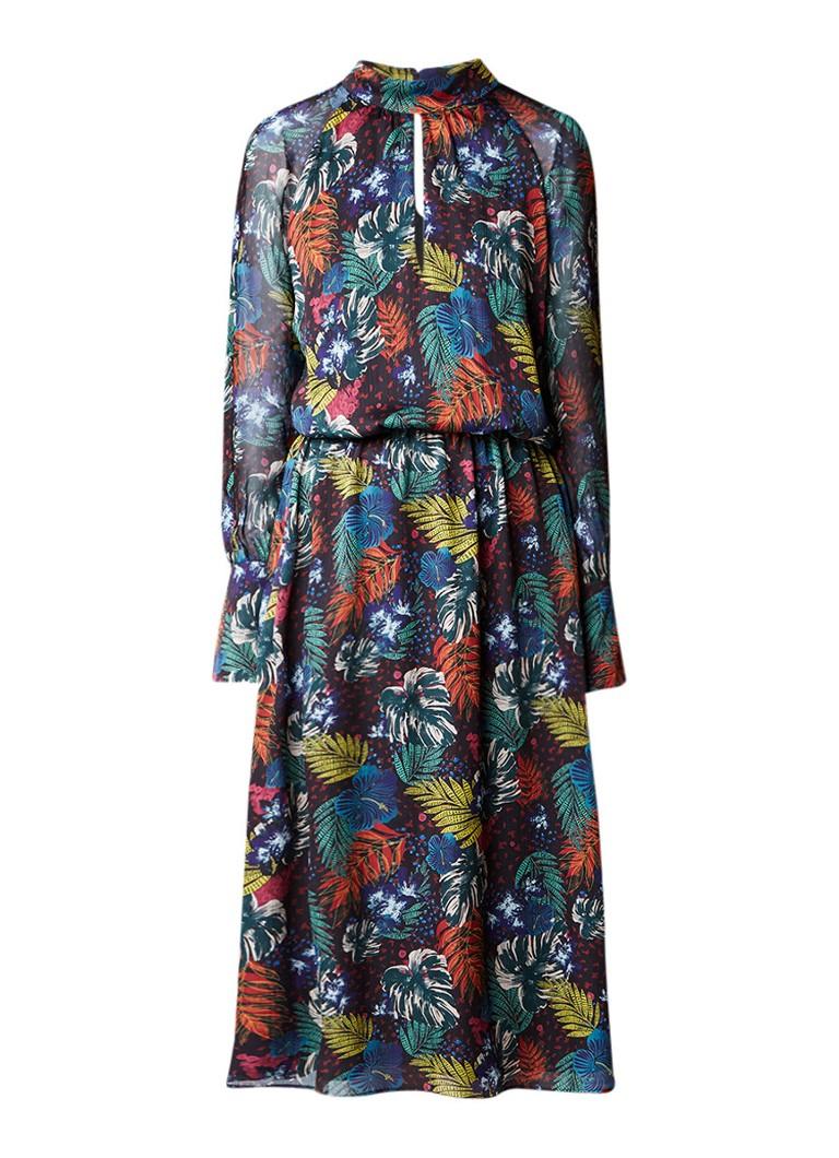 SET Midi-jurk met bladerdessin en keyhole donkergroen