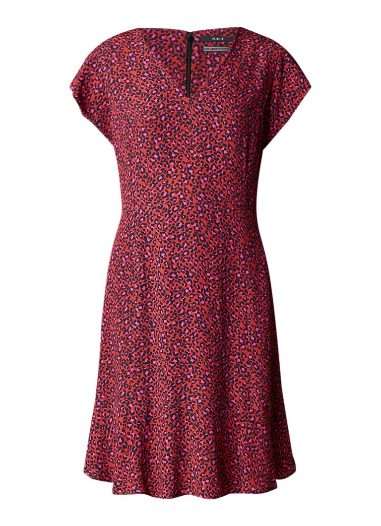 SET A-lijn jurk met luipaarddessin rood