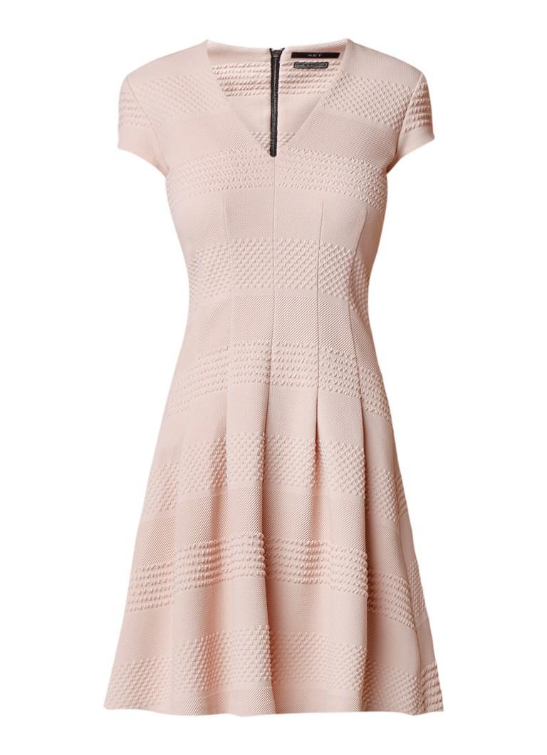 SET A-lijn jurk met ingeweven structuur lichtroze
