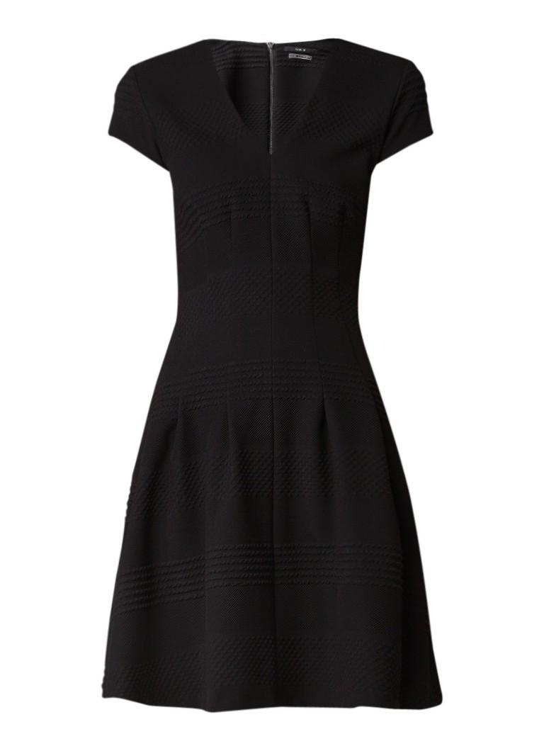 SET Getailleerde midi-jurk met V-hals en ingeweven structuur zwart