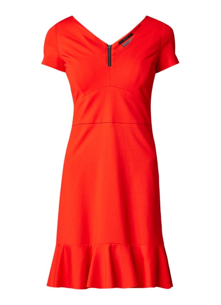 SET Midi-jurk met siernaad en volant rood