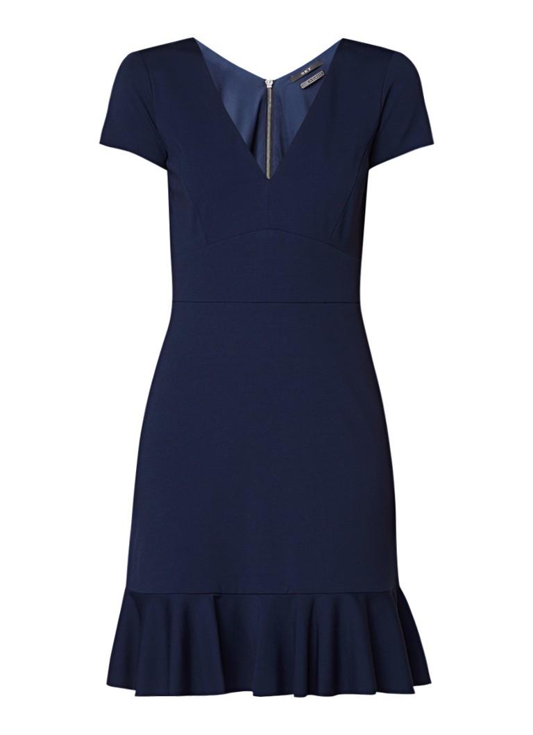 SET Midi-jurk met volant en siernaad donkerblauw