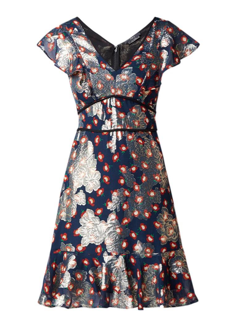 SET A-lijn jurk met volant en bloemendessin donkerblauw
