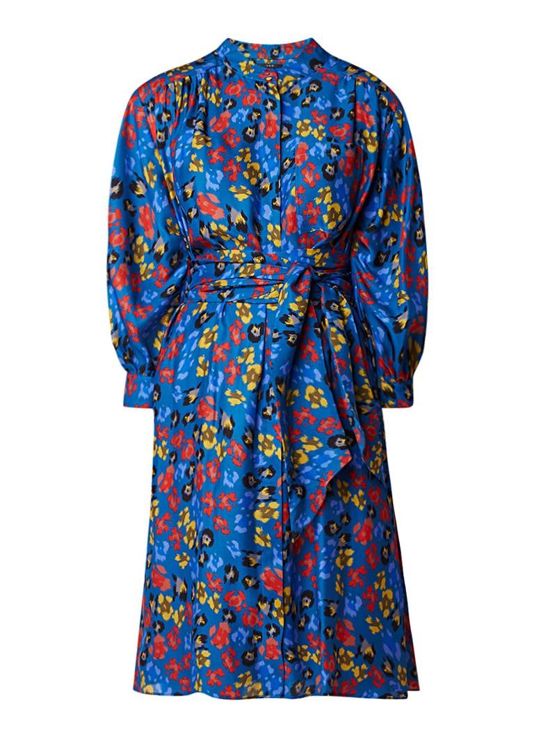 SET Blousejurk van zijde met luipaardprint royalblauw