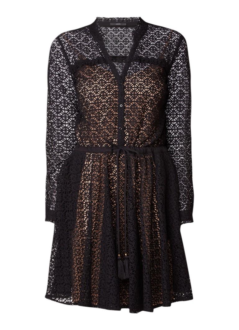 SET A-lijn jurk van kant met rijgdetail zwart