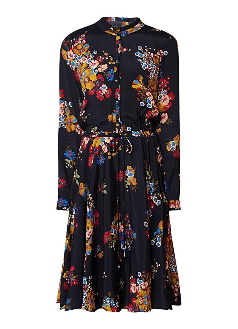 SET A-lijn jurk met bloemdessin donkerblauw