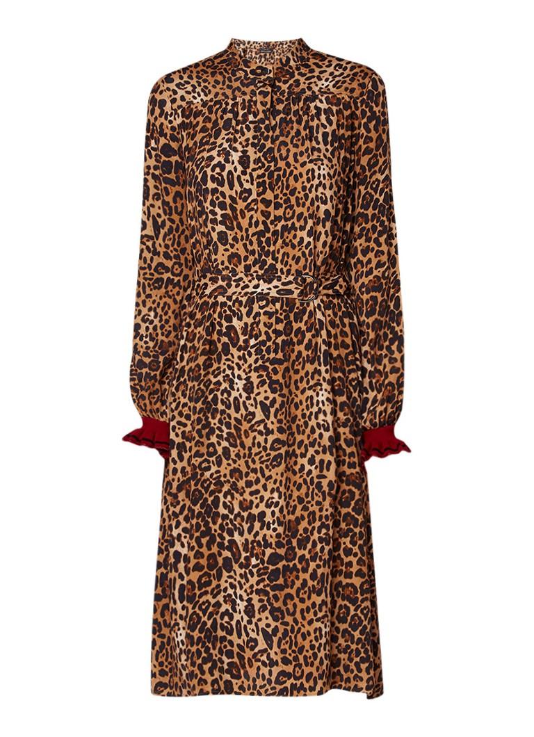 SET Blousejurk met luipaardprint en ritssluiting camel