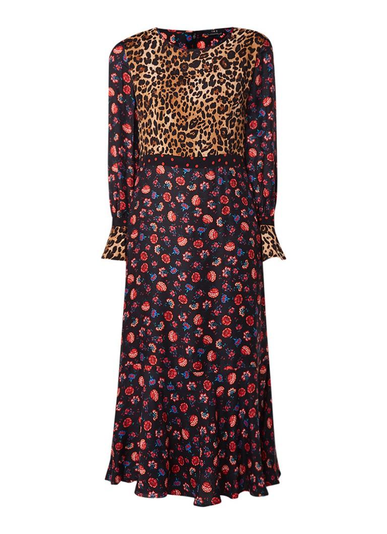 SET Maxi-jurk in zijdeblend met luipaard- en bloemendessin multicolor