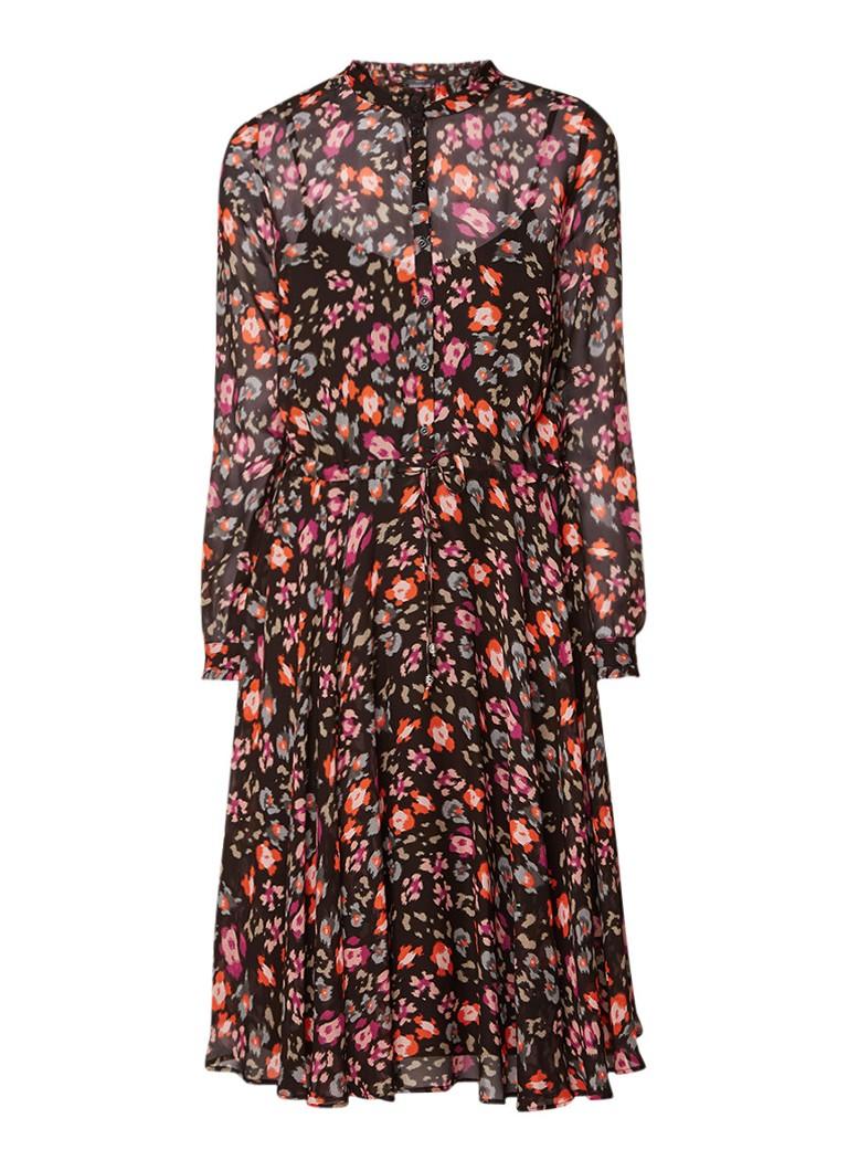 SET Semi-transparante A-lijn jurk met dessin zwart