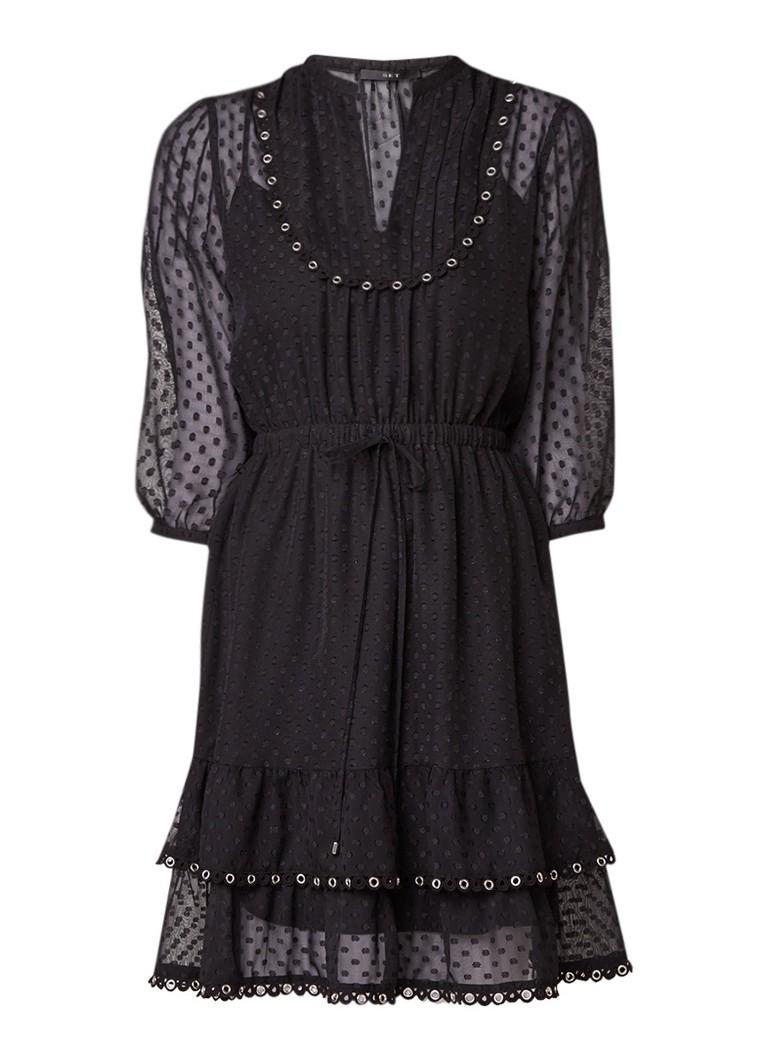SET Semi-transparante A-lijn jurk met eyelets zwart
