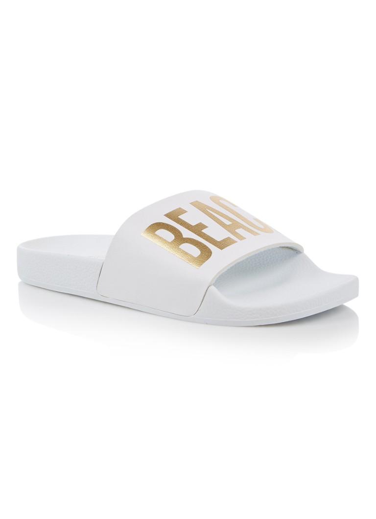 The White Brand Beach Please slipper met metallic opdruk