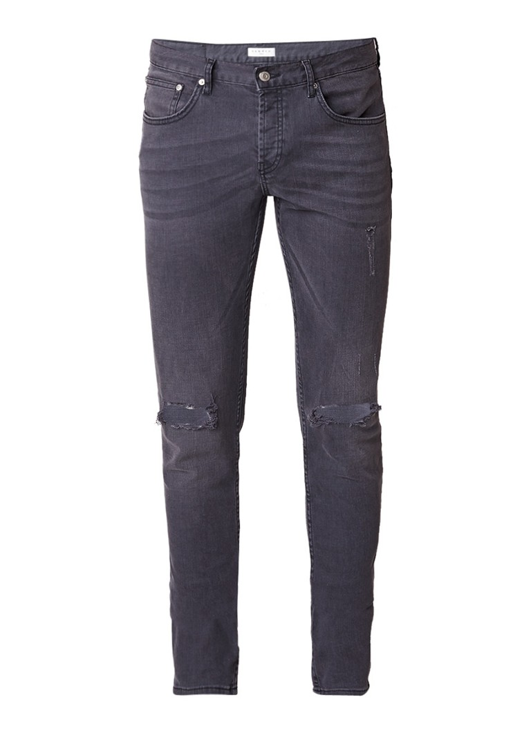 Sandro Destroyed high rise skinny jeans met donkere wassing