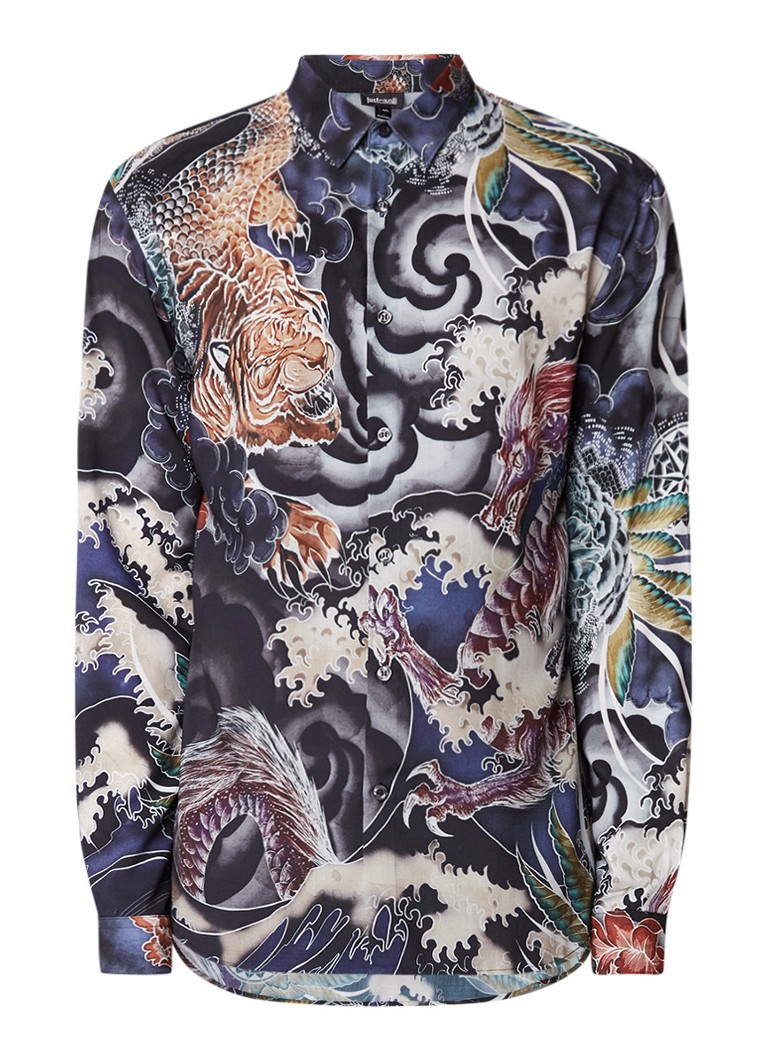 Just Cavalli Slim fit overhemd met drakenprint