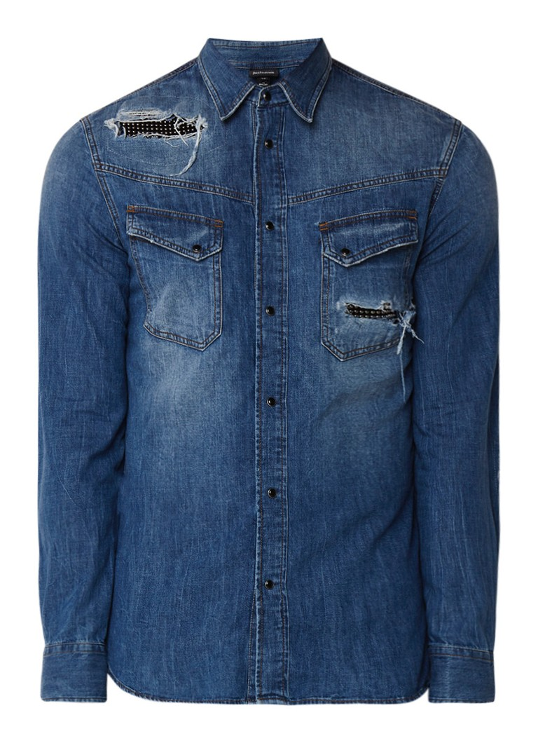 Just Cavalli Slim fit denim overhemd met destroyed details en metallic studs