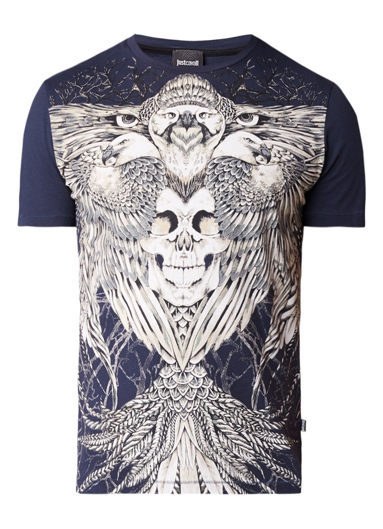 Just Cavalli Eagle And Skull T-shirt met frontprint
