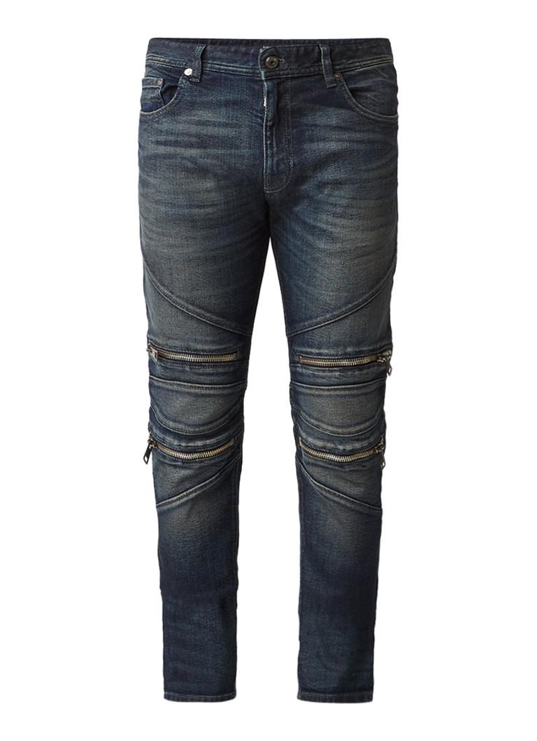 Just Cavalli Biker slim fit jeans met ritsdetails