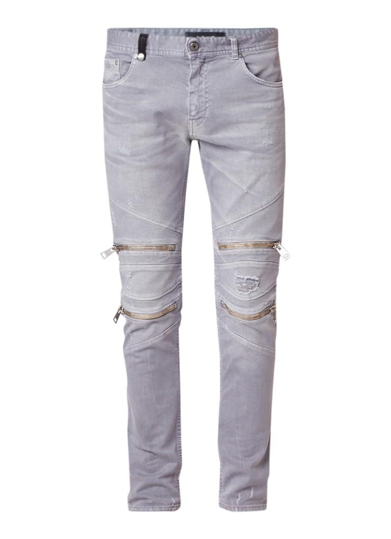 Just Cavalli Tapered fit biker jeans met destroyed details