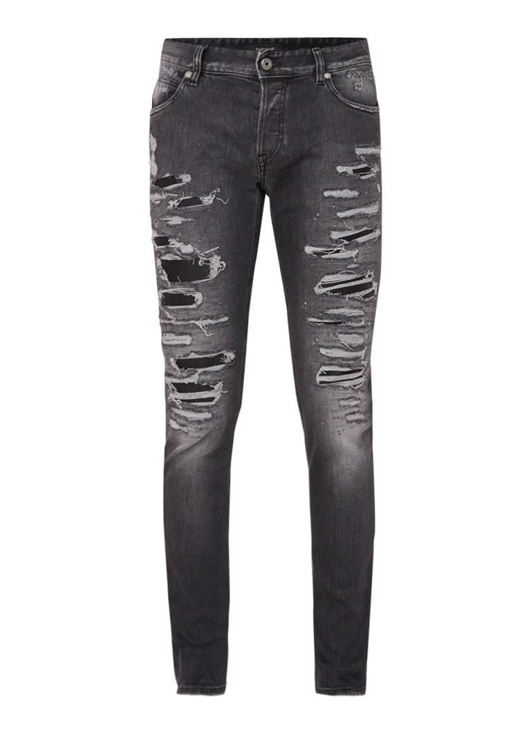 Just Cavalli Repaired super slim fit jeans met inzet van imitatieleer