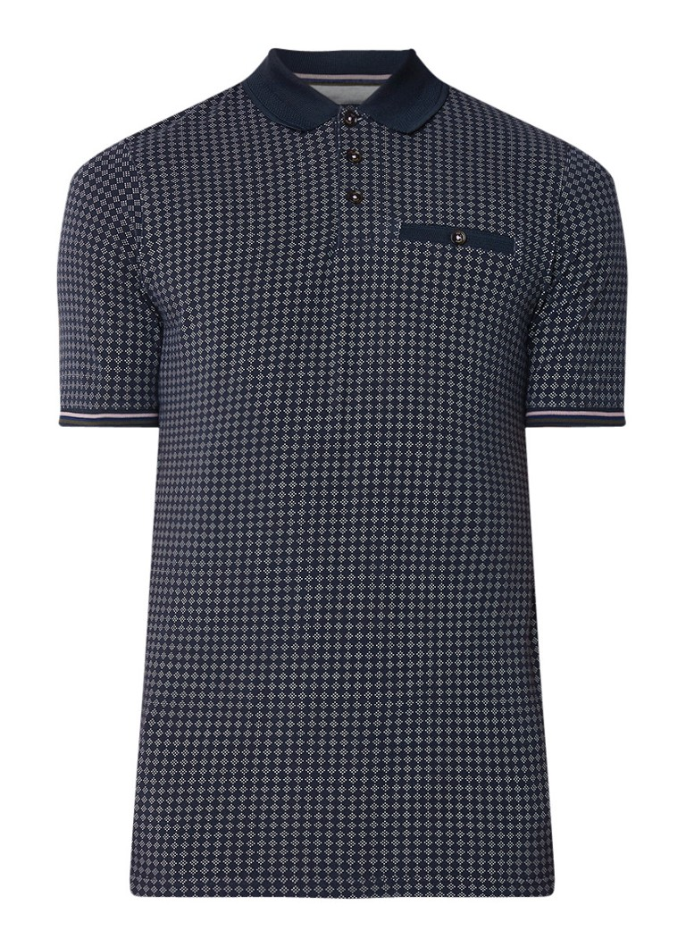 Ted Baker Pezze slim fit jersey polo met dessin
