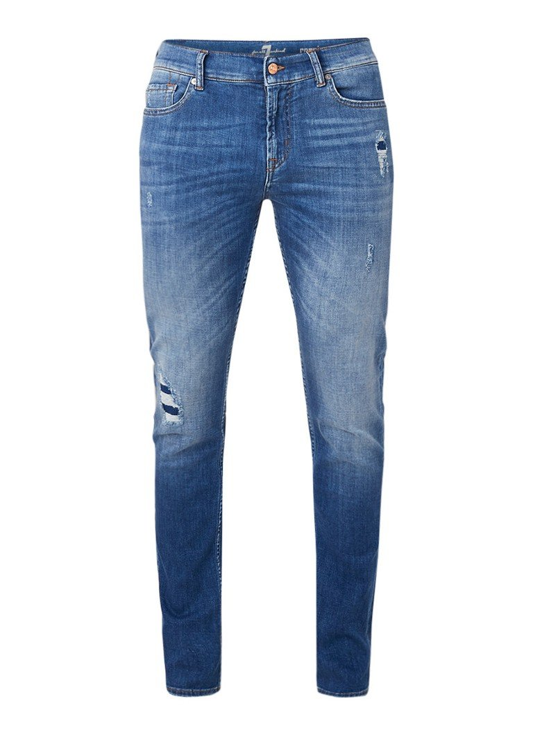 7 For All Mankind Ronnie slim fit jeans met ripped details