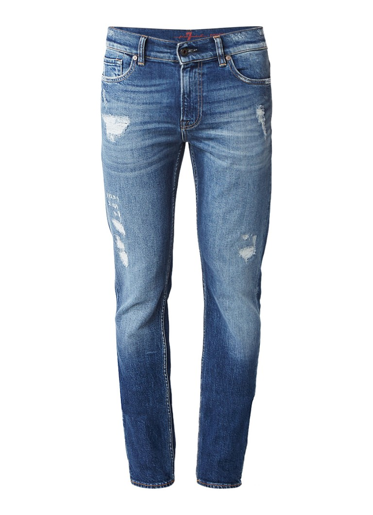 7 For All Mankind Ronnie skinny fit jeans met gedragen look