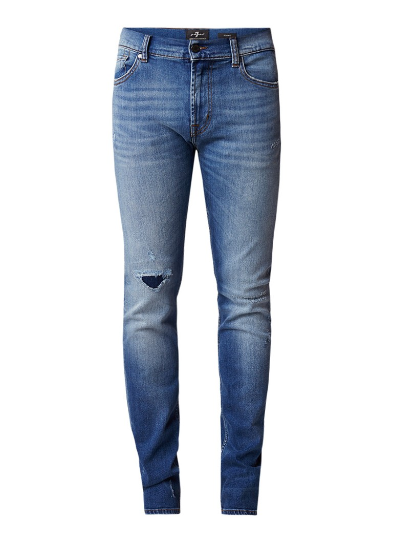7 For All Mankind Ronnie skinny fit jeans met destroyed details
