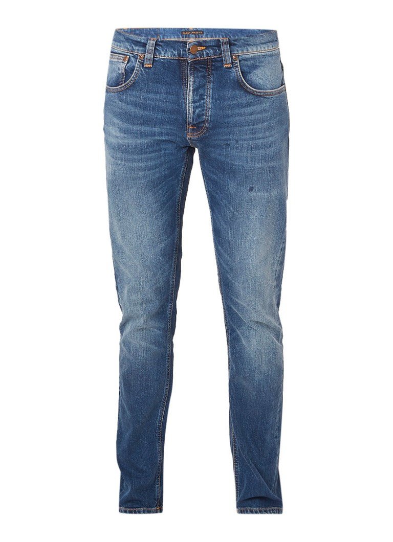 Image of Nudie Jeans Slim straight fit jeans met faded look
