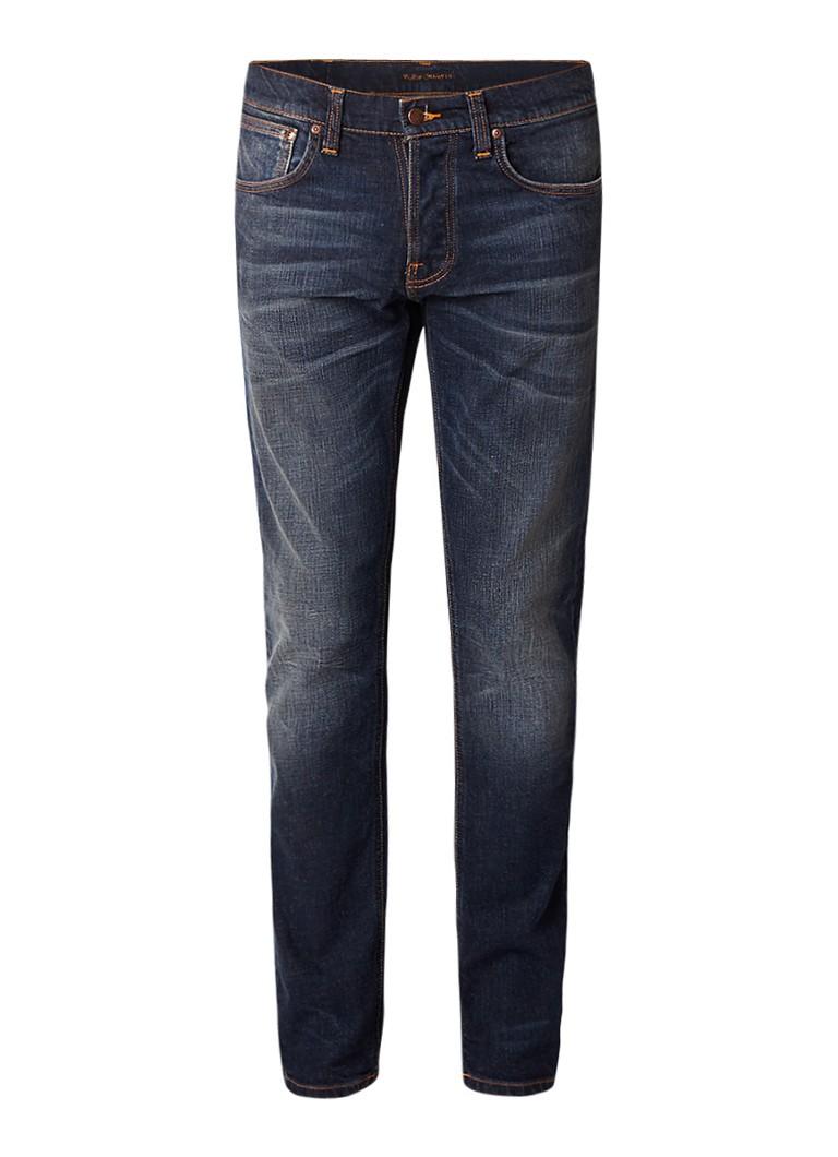 Nudie Jeans Grim Tim straight fit jeans met contrasterende stiksels