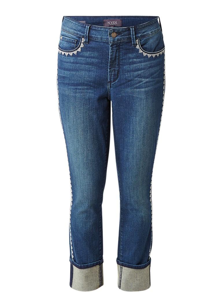 NYDJ Alina Ankle cropped slim fit jeans met borduursels