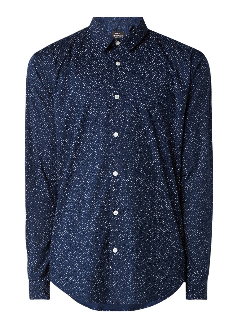 Overhemden Mads Nørgaard Vikdal regular fit overhemd met gestipt dessin Donkerblauw
