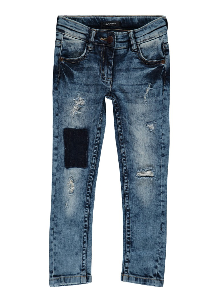 Marc O'Polo Emi skinny fit low waist jeans met destroyed details
