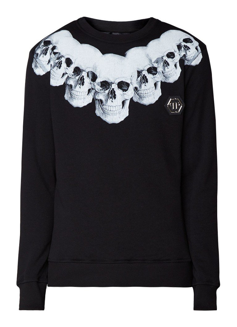 Philipp Plein Sweater met skull opdruk en badge