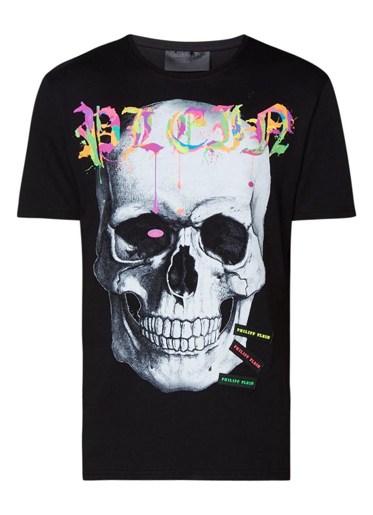 Polo s en T shirts Philipp Plein T shirt met fluoriserende skull print Zwart