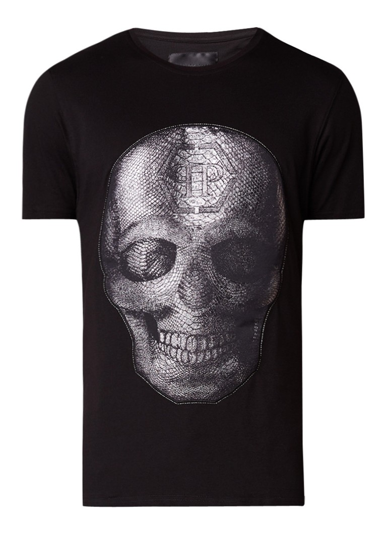 Philipp Plein Appliq T-shirt met skull applicatie