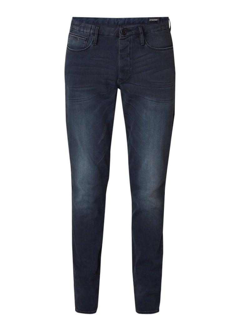 Armani 5-pocket slim fit jeans met faded look