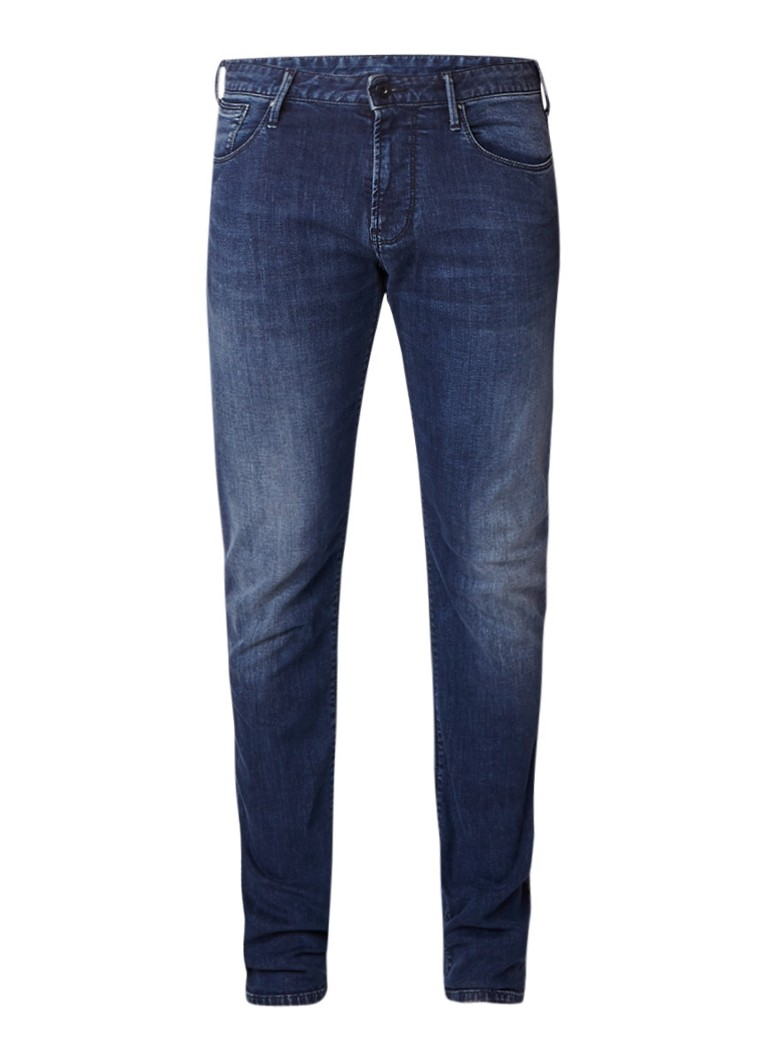 Armani Mid rise slim fit jeans met faded look