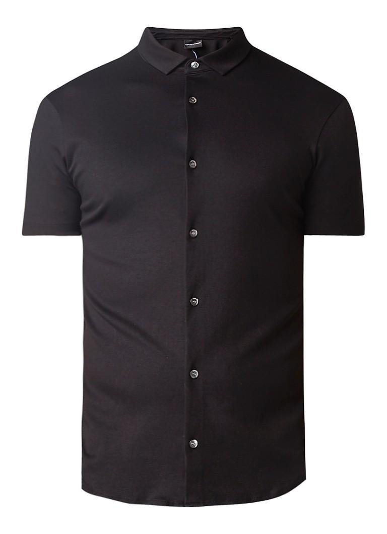 Armani Jersey slim fit overhemd met korte mouw