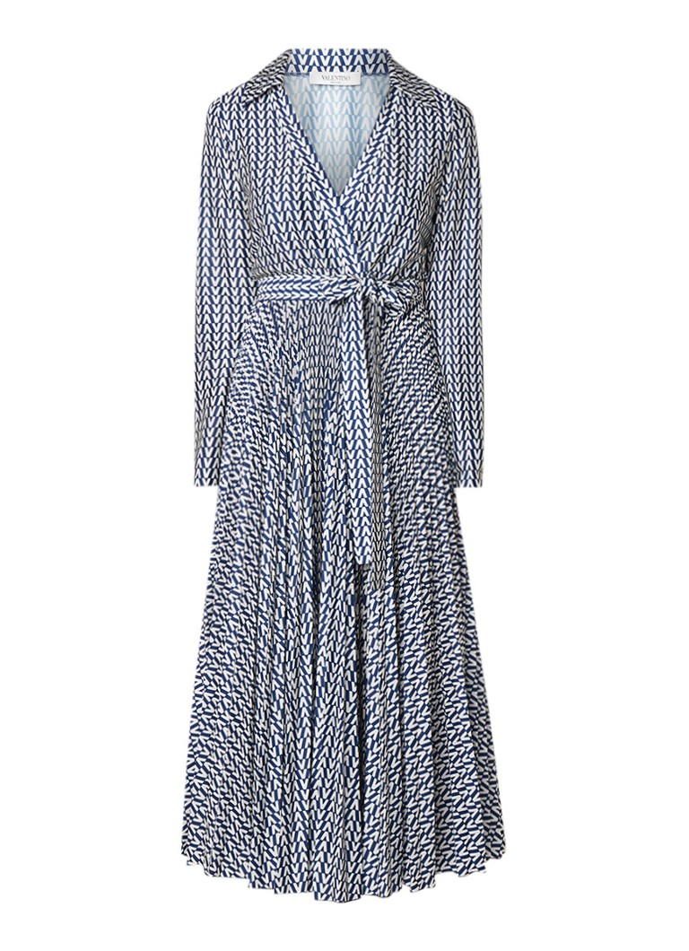 Valentino Geplisseerde blousejurk met logoprint en ceintuur donkerblauw