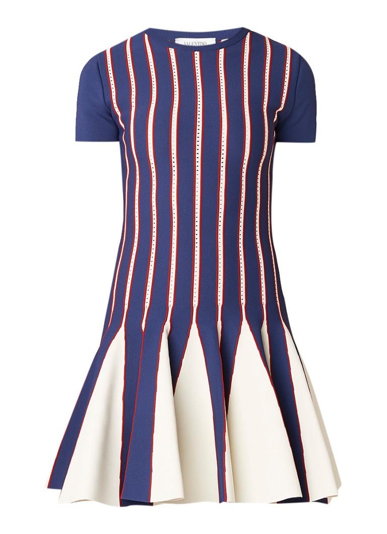 Valentino Mini-jurk met peplum en gestreept dessin blauw