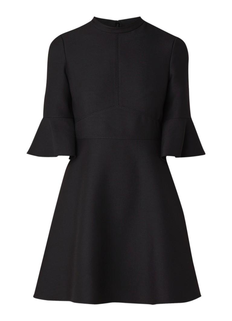 Valentino A-lijn mini-jurk in zijdeblend met klokkende mouw zwart