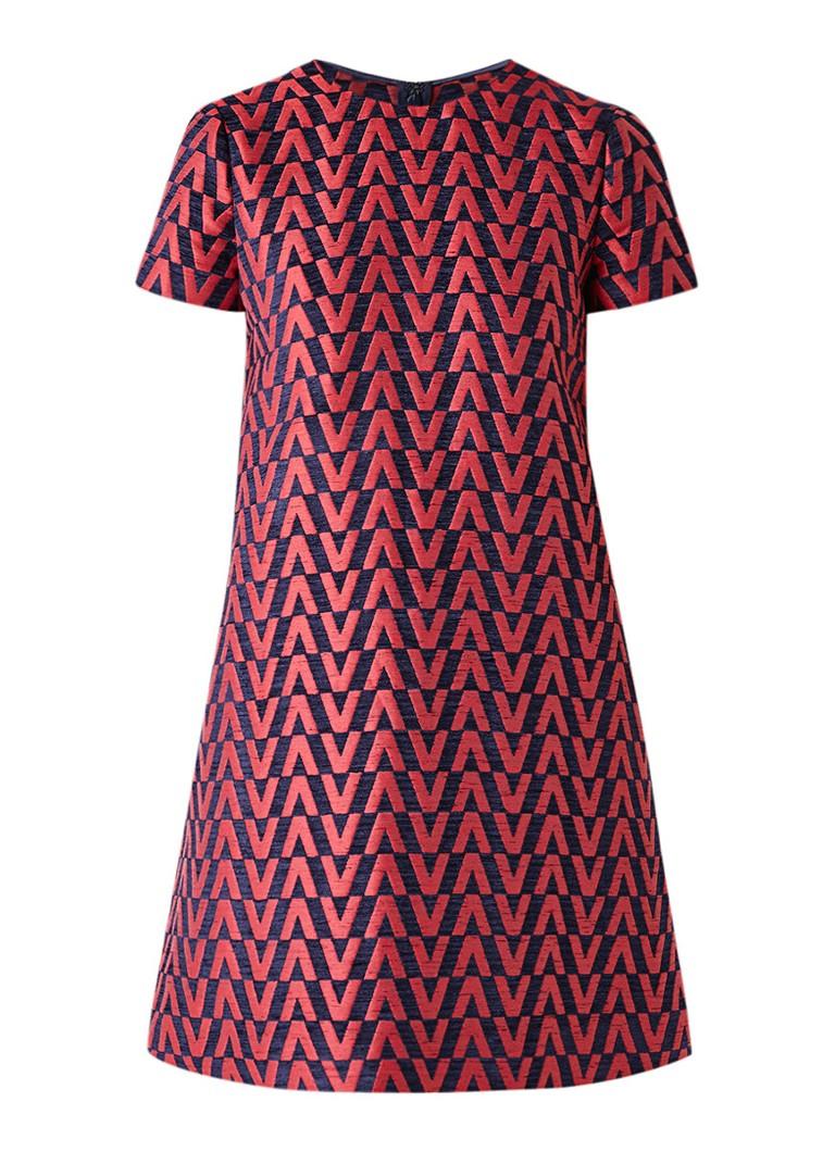 Valentino A-lijn jurk in linnenblend met ingeweven dessin rood