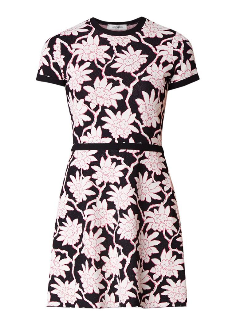 Valentino fijngebreide mini-jurk met bloemendessin